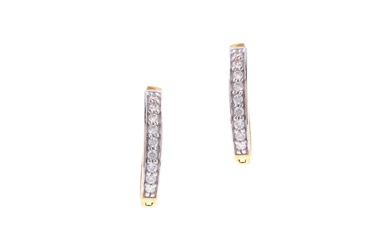 22ct Yellow Gold & Cubic Zirconia Hoop Earrings (3.23g) HG0013
