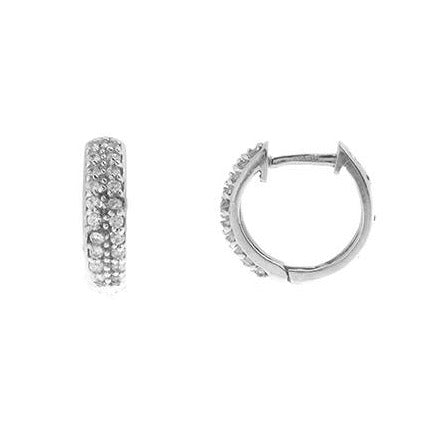 18ct White Gold Hoop Earrings set with Swarovski Zirconias HG9008