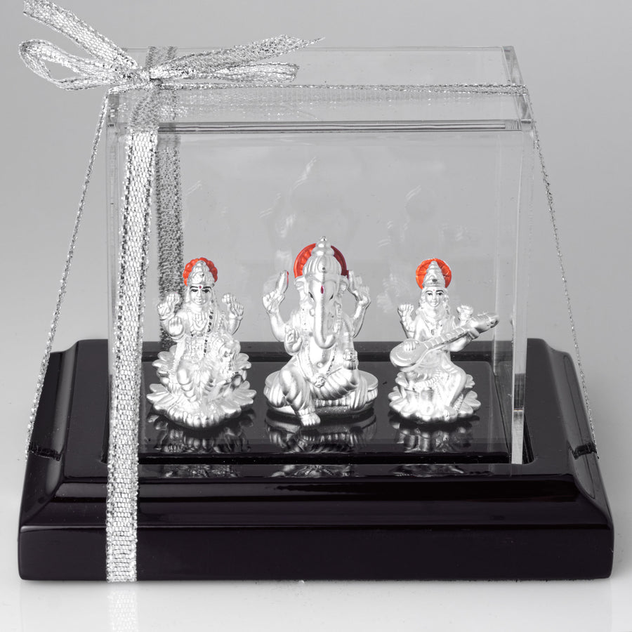 Pure Silver Ganesh Lakshmi and Saraswati Silver God Idol I-1015