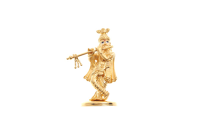 22ct Yellow Gold Krishna playing the flute Idol (I-5053)