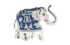Silver Plated White Metal Elephant Idol, Minar Jewellers - 1