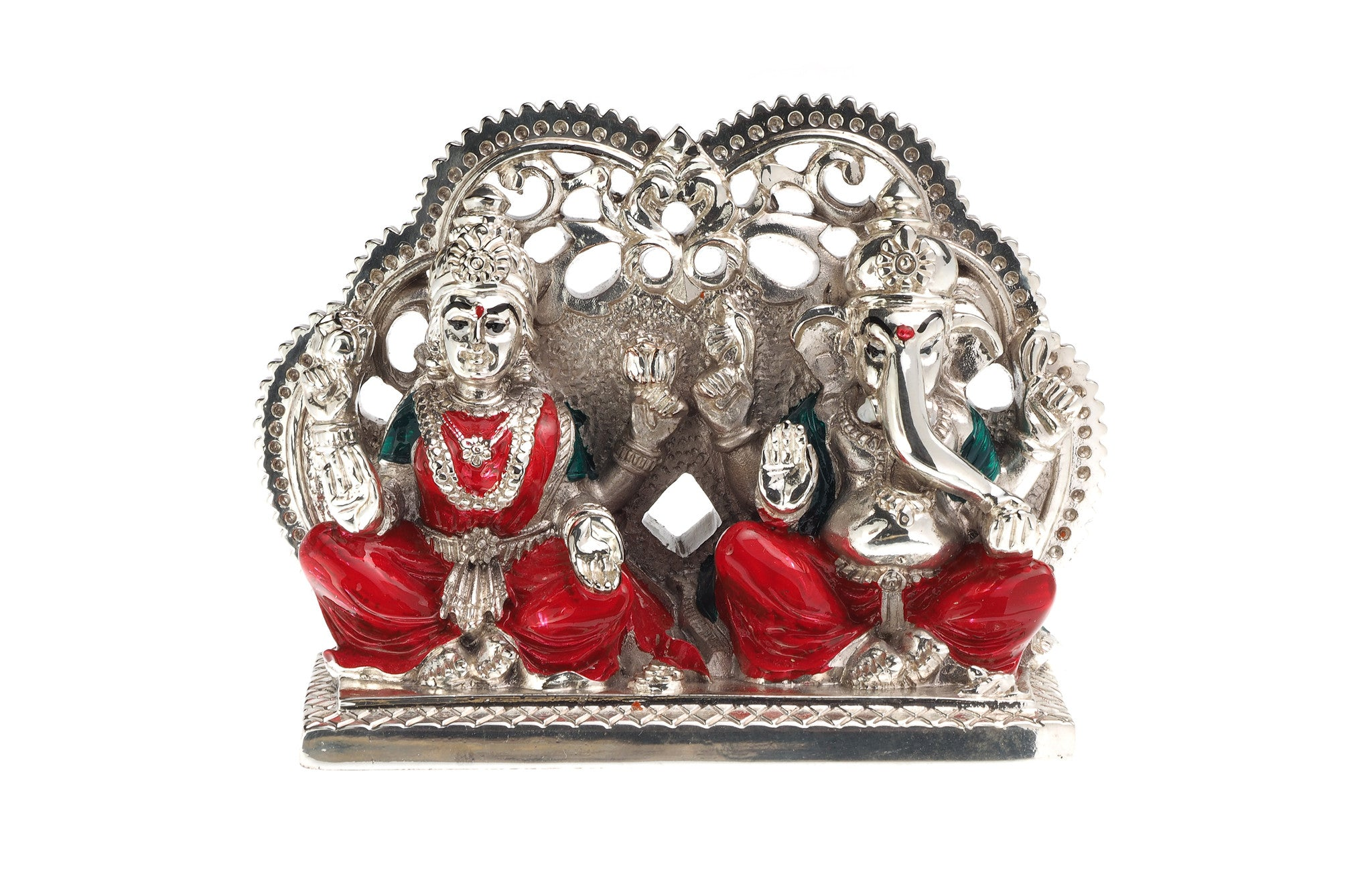 Silver Plated White Metal Lakshmi & Ganesh Idol, Minar Jewellers