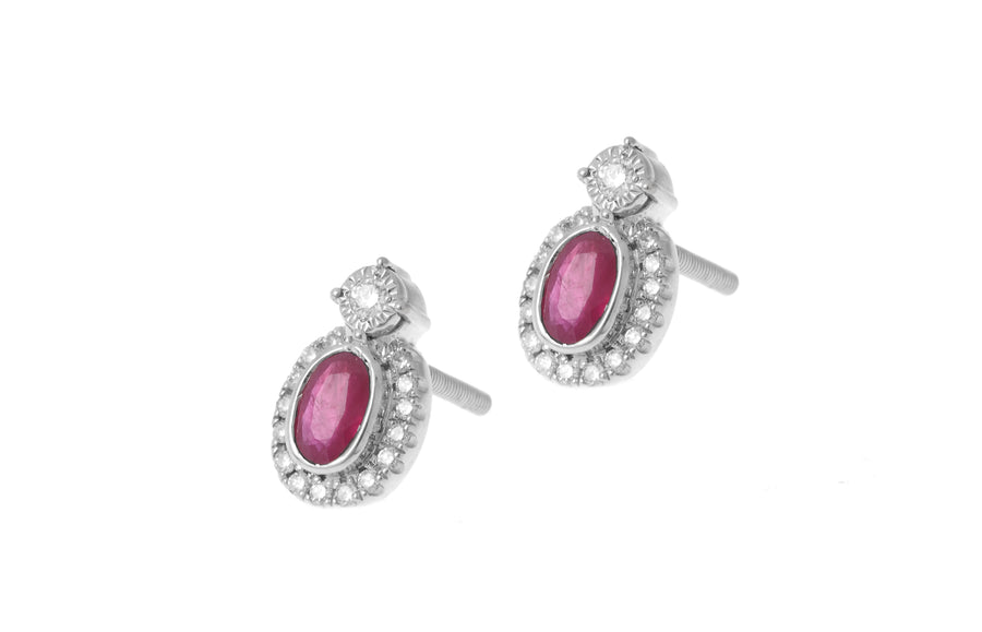 18ct White Gold Diamond and Ruby Stud Earrings (KCL077)