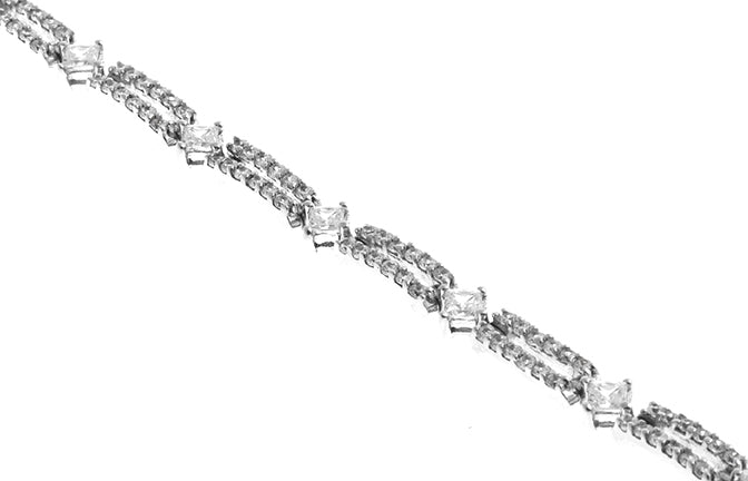 18ct White Gold Bracelet with Cubic Zirconia Stones (13.3g) (LBR-1162)