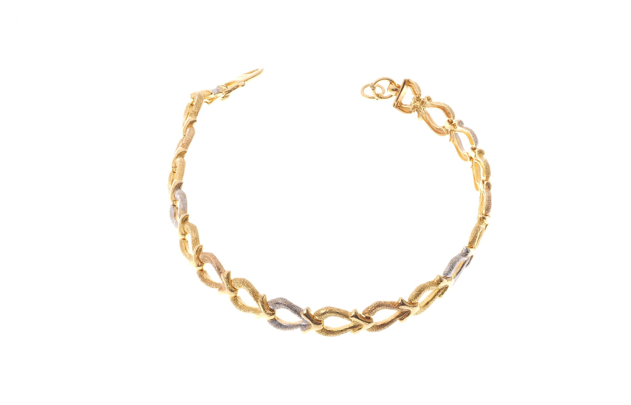 22ct Gold & Rhodium Design Ladies Bracelet with hook clasp (10.2g) LBR-3974