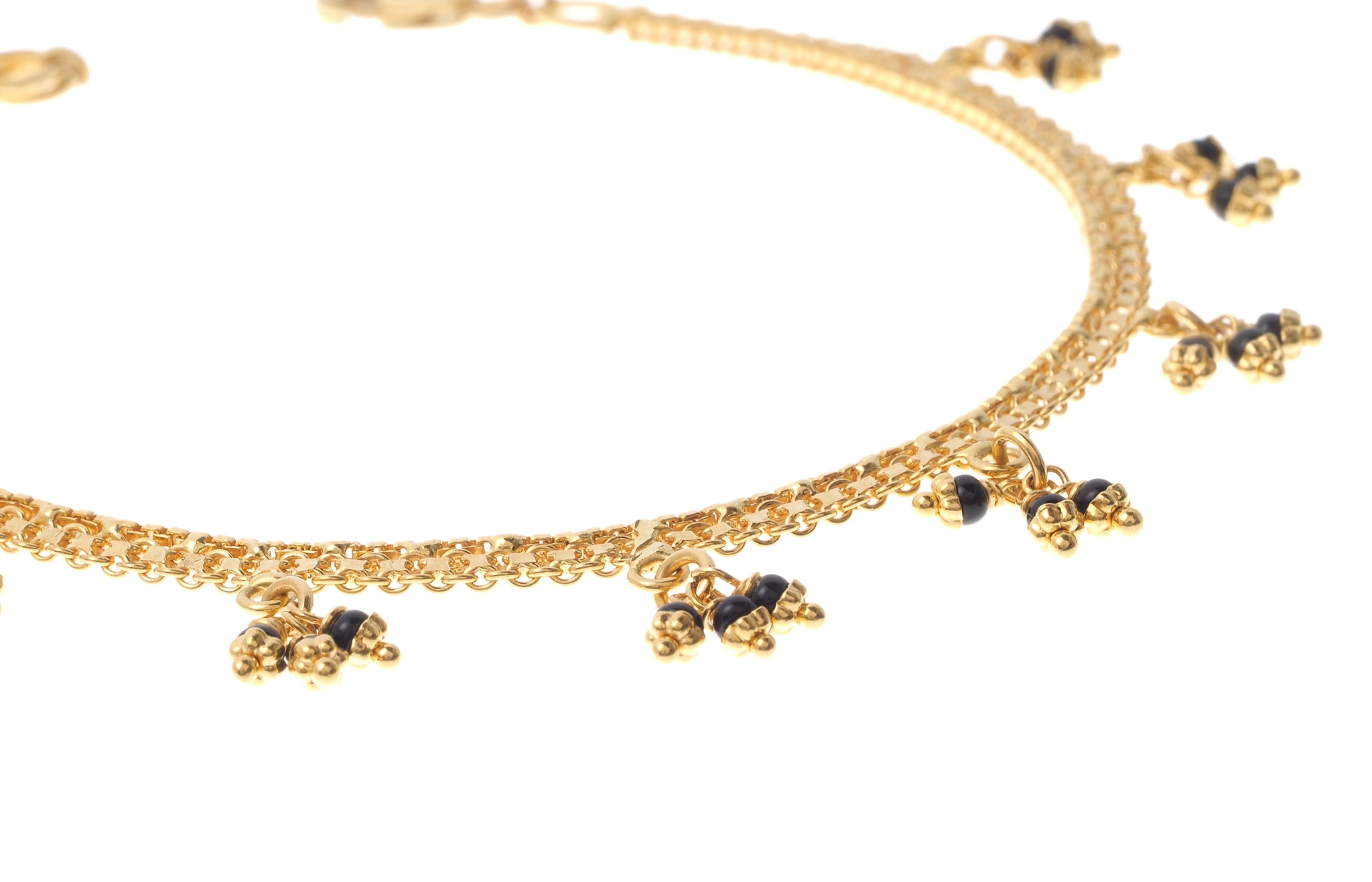 22ct Gold Ladies Bracelet with Black Bead Drops (7.9g) LBR-5335