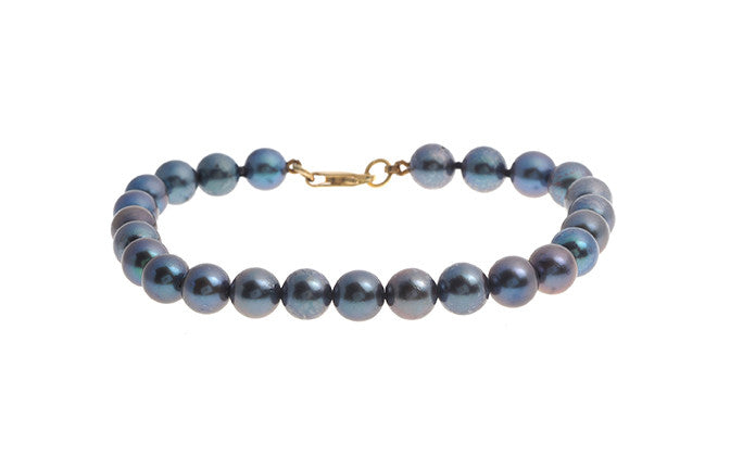 Black Cultured Pearl Bracelet with 22ct Gold Clasp (LBR-5668)