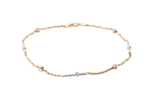 18ct Gold Three Tone Bracelet with Diamond Cut Beads (LBR-5853)