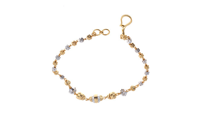22ct Gold Milled & Rhodium Design Bracelet with hook clasp (6g) LBR-6394