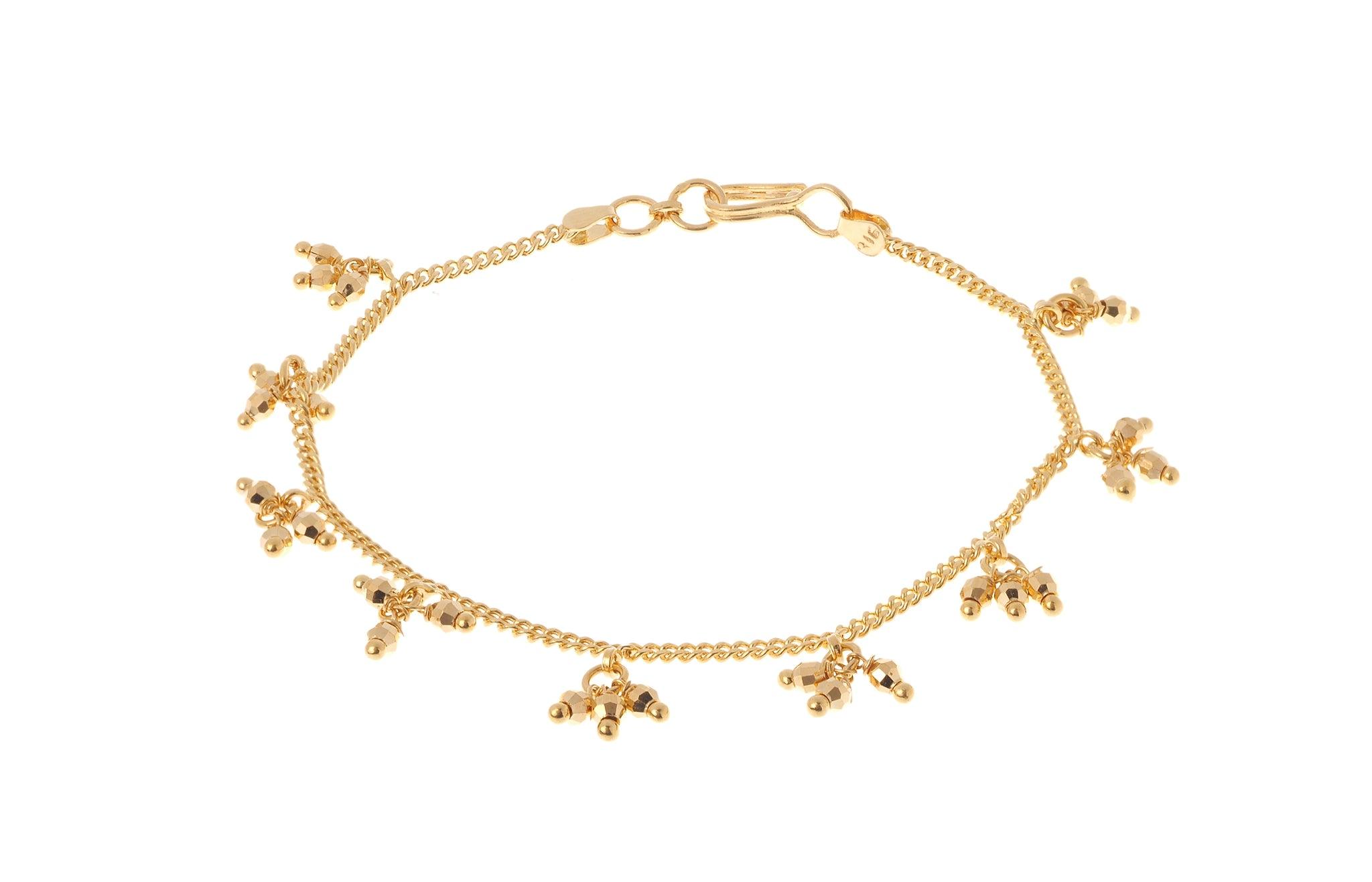 22ct Gold Ladies Bracelet with Bead Drops (6.8g) LBR-7218