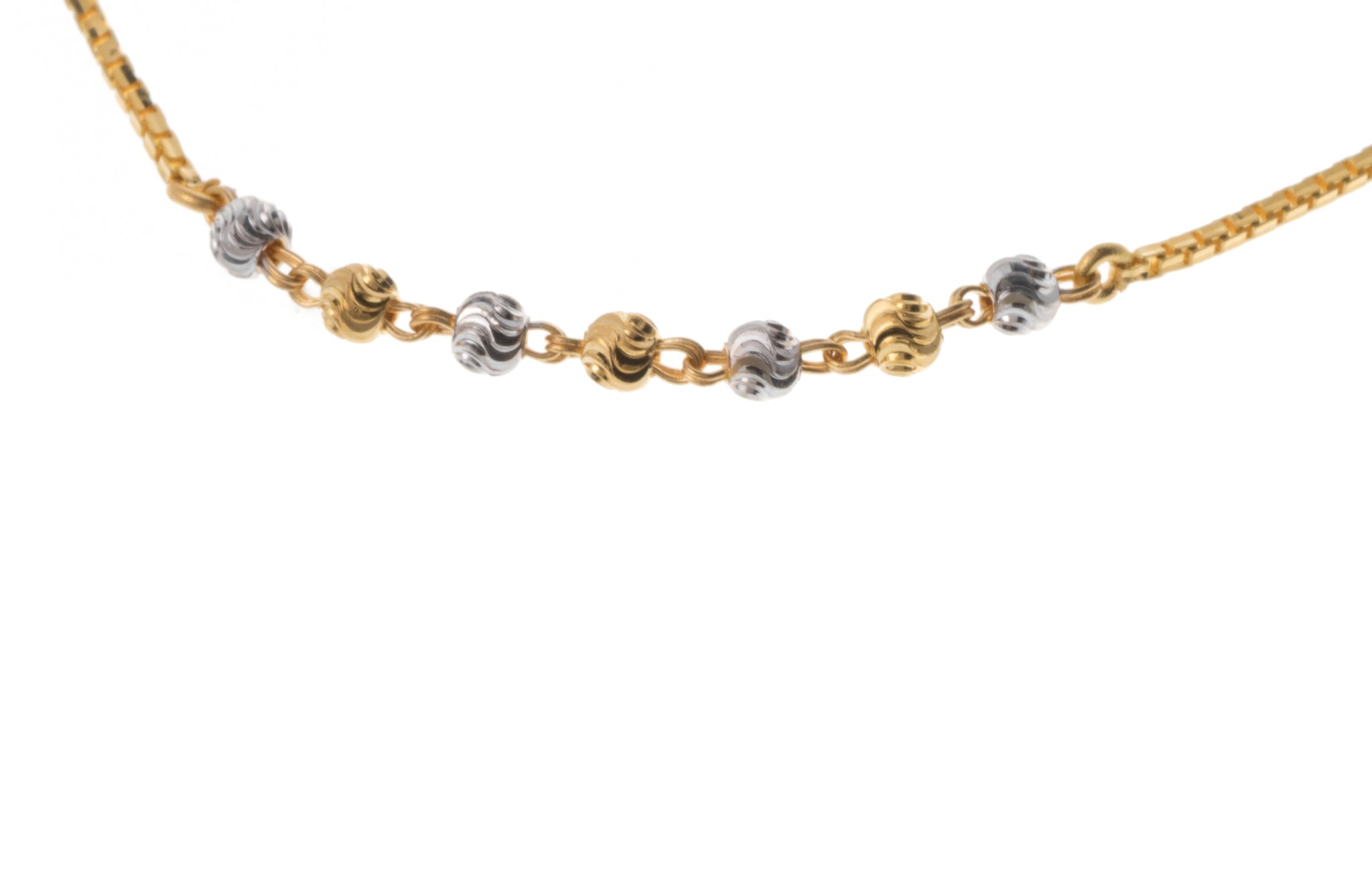 22ct Gold Bracelet with Rhodium and Diamond Cut Design (2.9g) LBR-7302