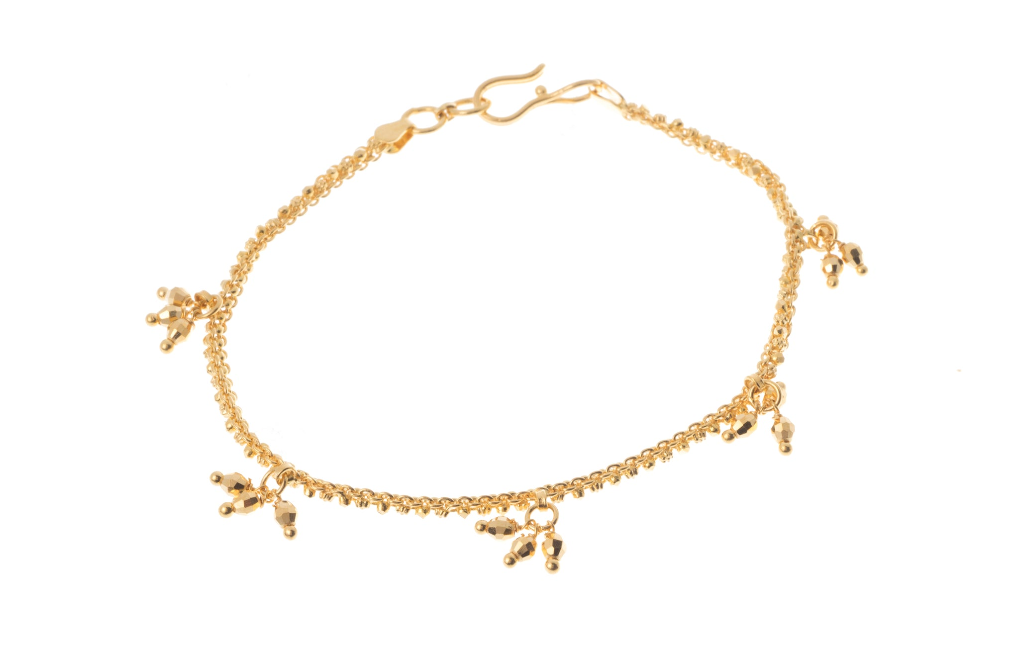 22ct Gold Bracelet with Diamond Cut Drops (7.1g) LBR-7306
