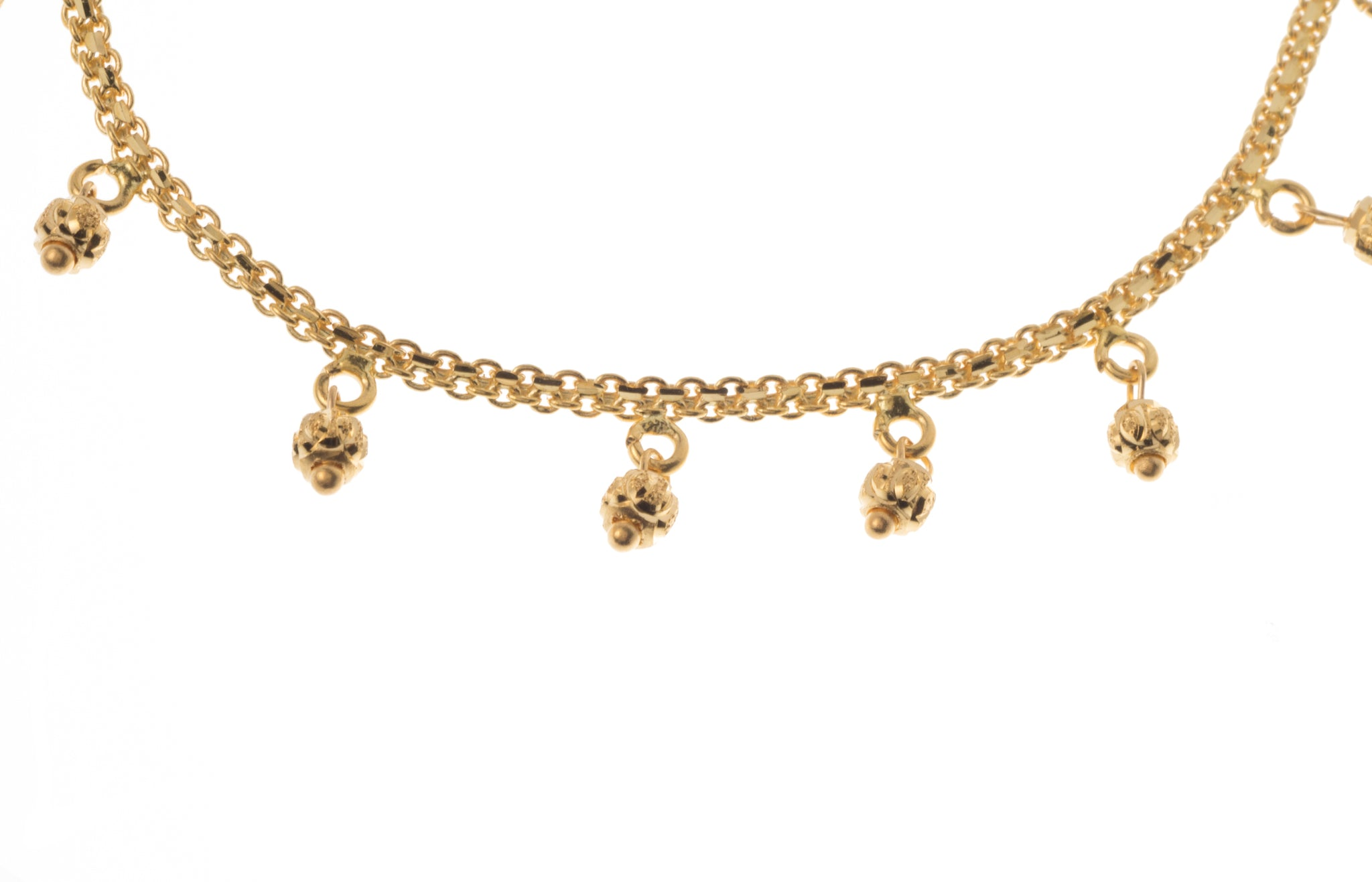 22ct Gold Bracelet with Diamond Cut Bead Drops (5.1g) LBR-7309