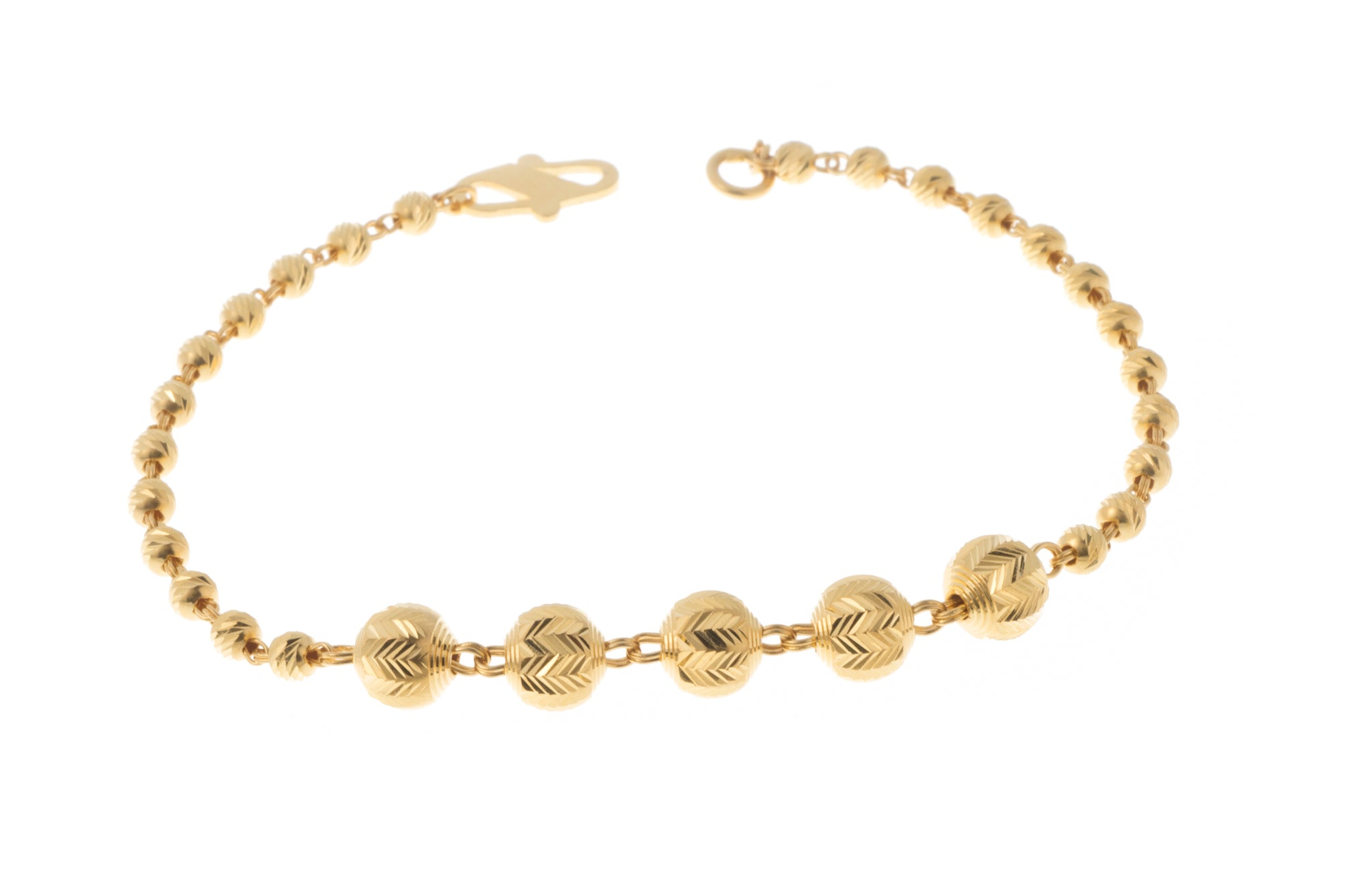 22ct Gold Bracelet with Diamond Cut Design (4.6g) LBR-7387