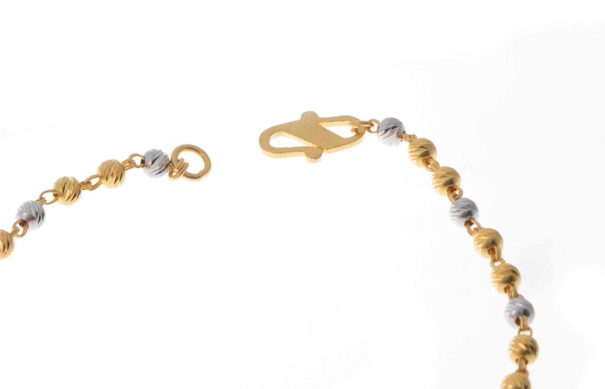 22ct Gold Bracelet with Diamond Cut and Rhodium Design (4.5g) LBR-7394