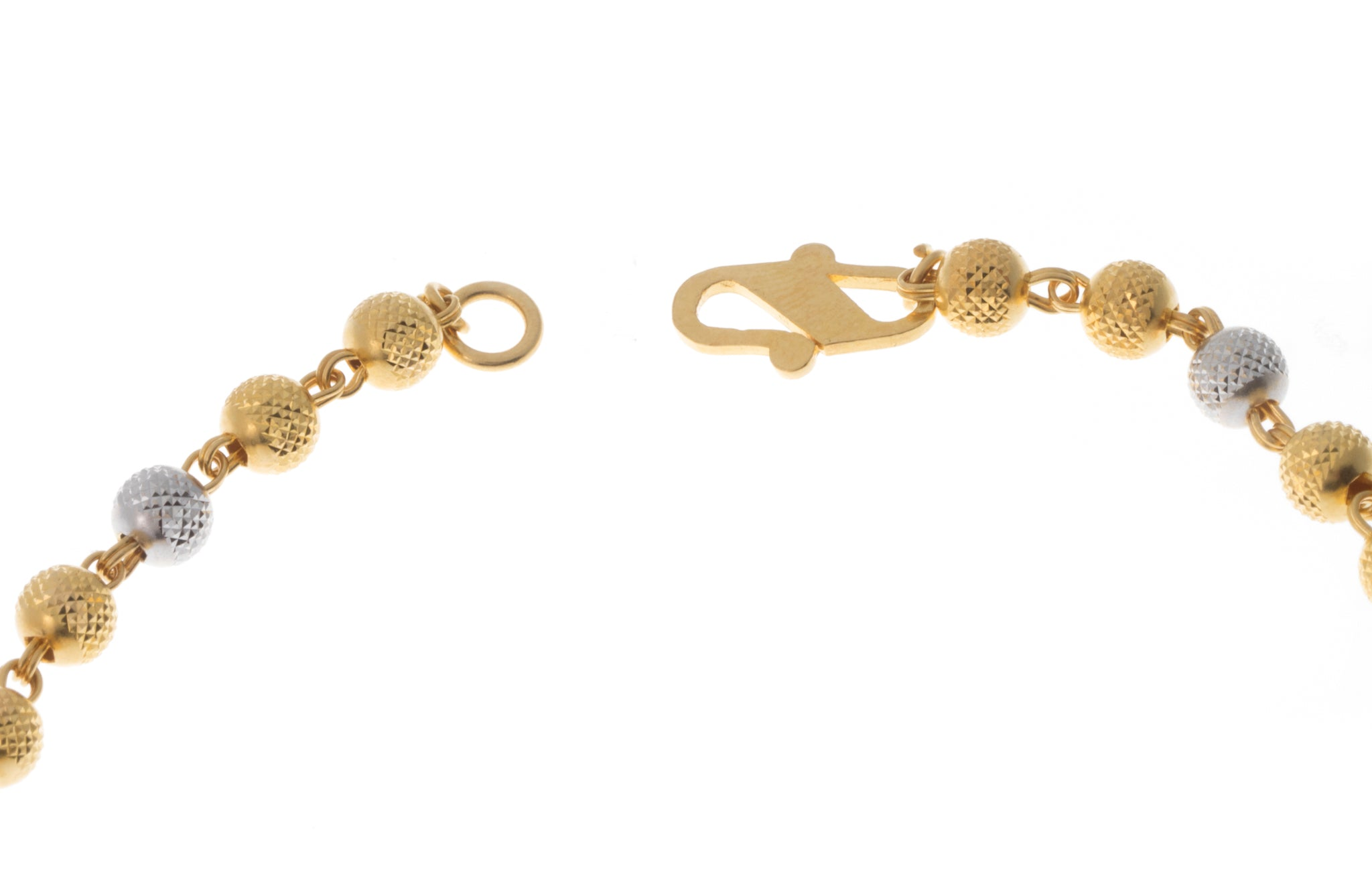 22ct Gold Bracelet with Diamond Cut and Rhodium Design (5.3g) LBR-7396