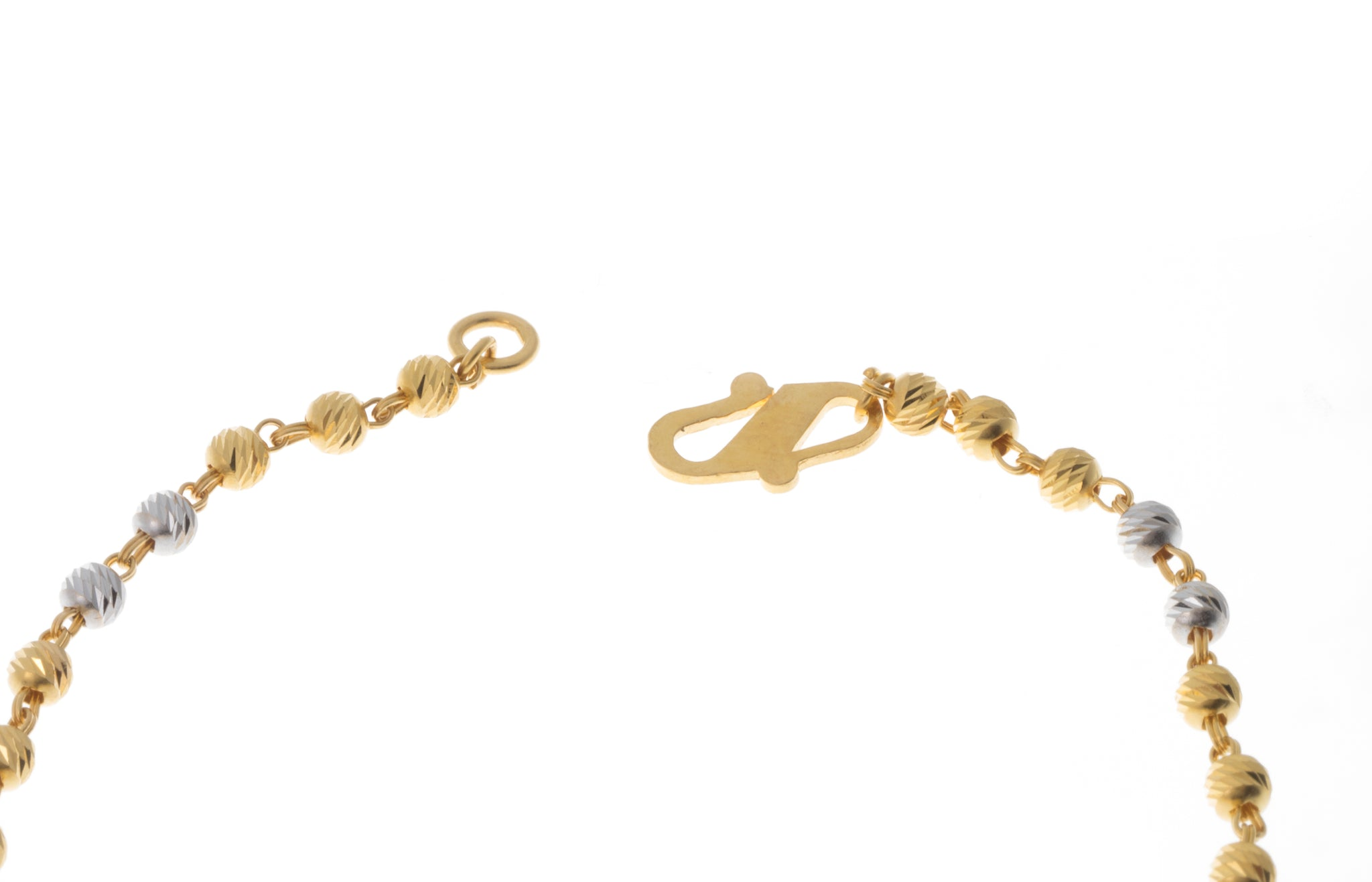 22ct Gold Bracelet with Diamond Cut and Rhodium Design (4.7g) LBR-7397