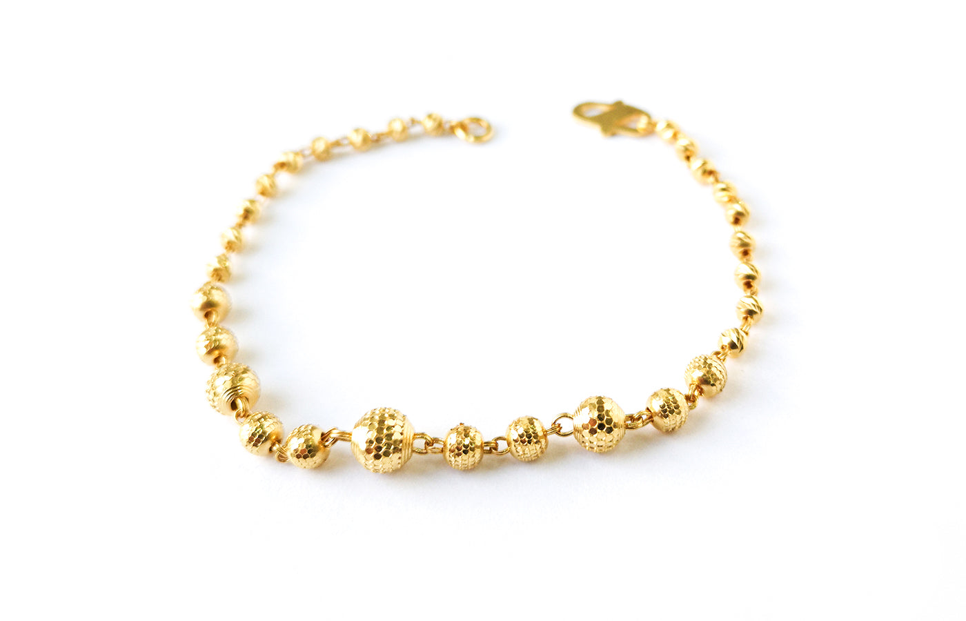 22ct Gold Bracelet with Diamond Cut Design and S Clasp (4.7g) LBR-7606