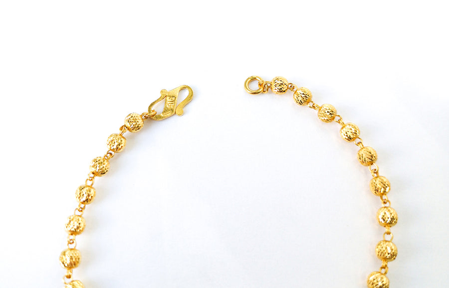 22ct Gold Bracelet with Diamond Cut Design and S Clasp (4.7g) LBR-7607