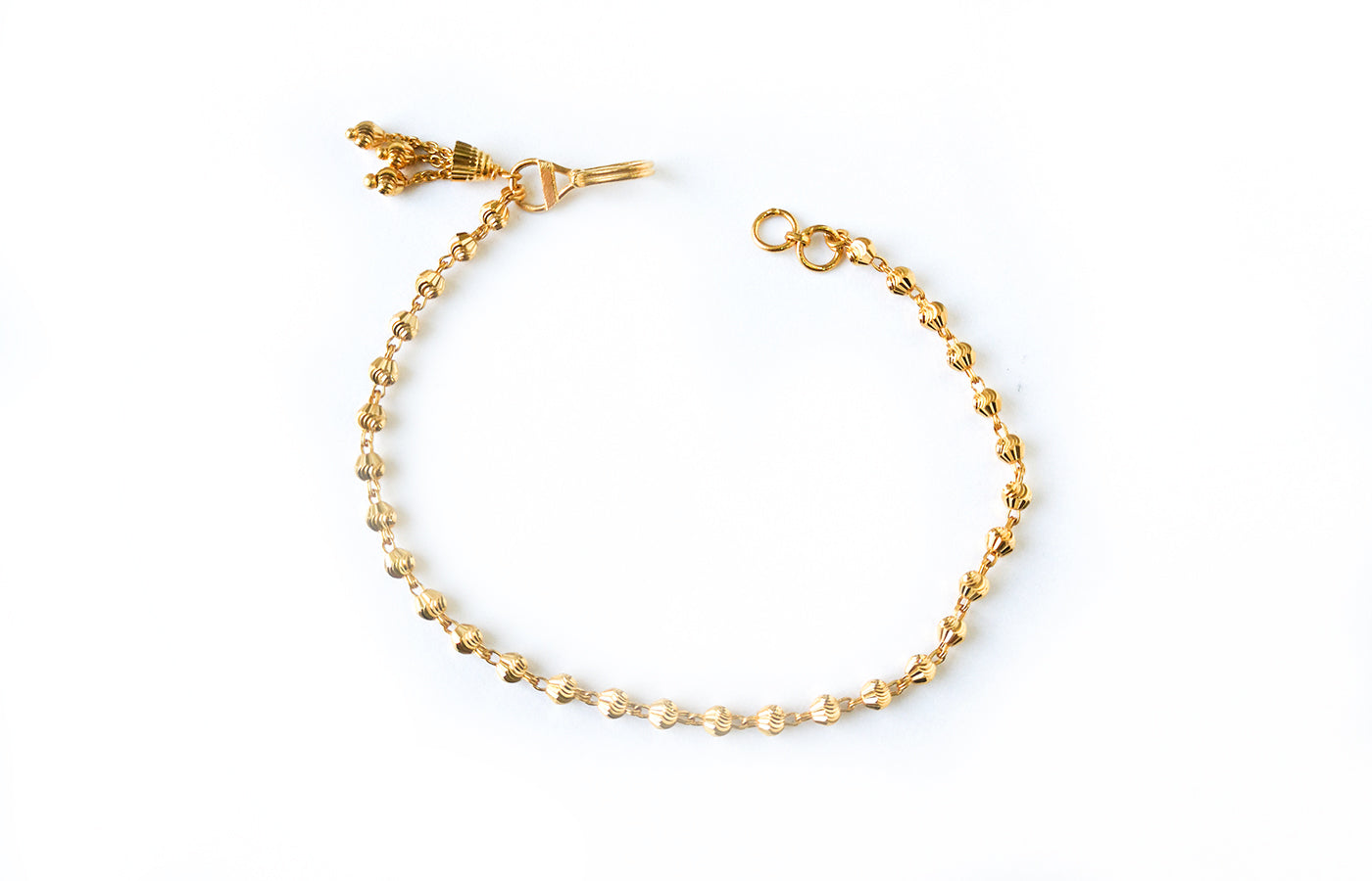 22ct Gold Bracelet with Diamond Cut Beads and Drop Charm on Clasp (4.6g) LBR-7610