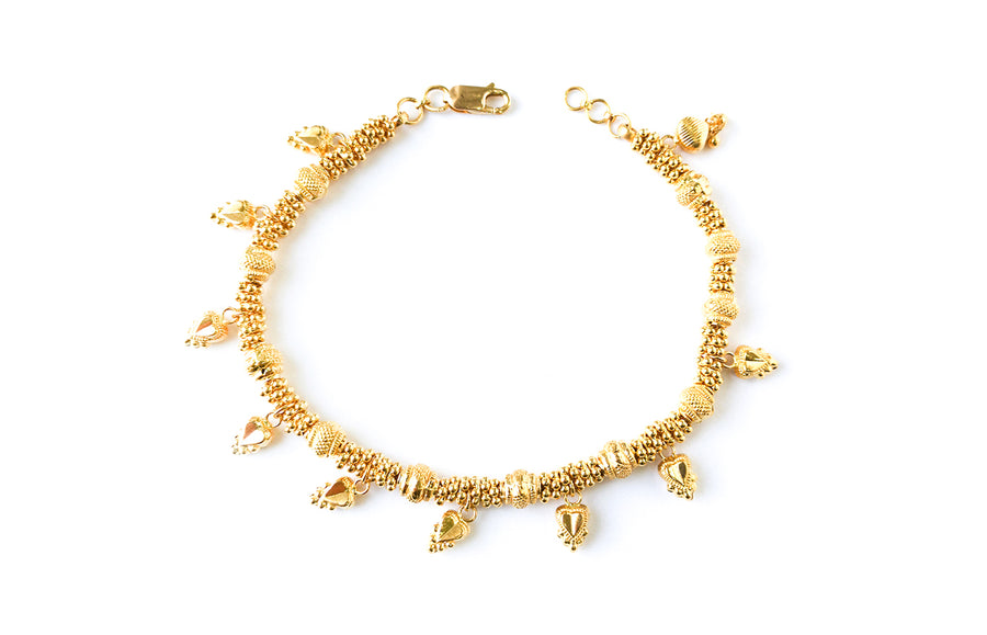 22ct Gold Bracelet with Diamond Cut Design and Charms (16.5g) LBR-7621