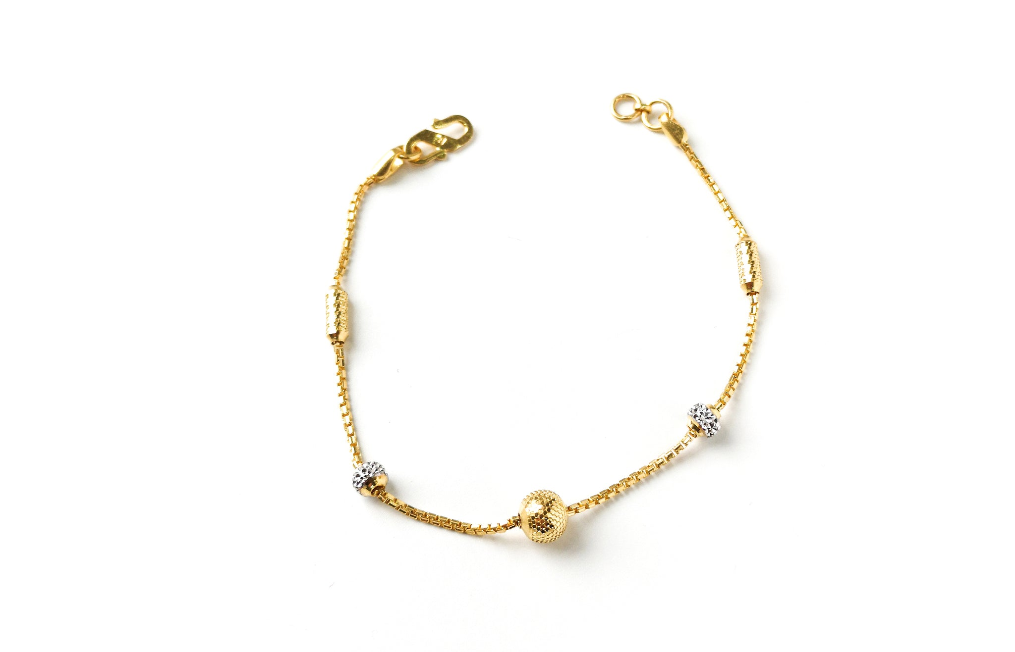22ct Gold Bracelet with Diamond Cut and Rhodium Design (4.2g) LBR-7658