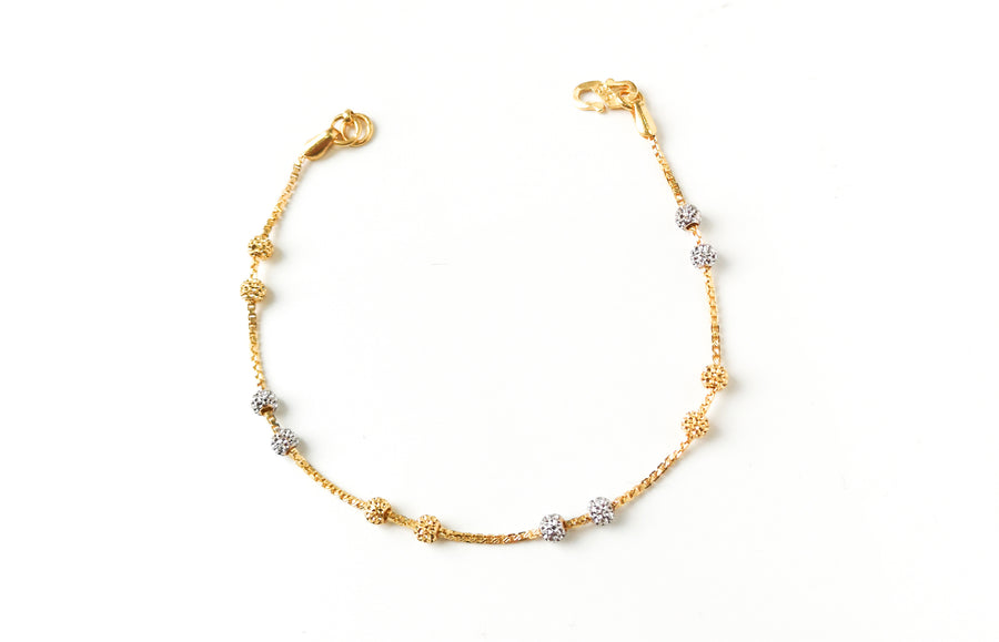 22ct Gold Bracelet with Diamond Cut and Rhodium Design (3.6g) LBR-7659