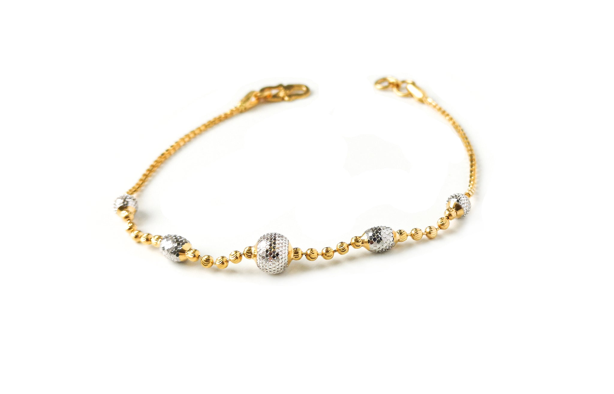 22ct Gold Bracelet with Diamond Cut and Rhodium Design (4.4g) LBR-7661