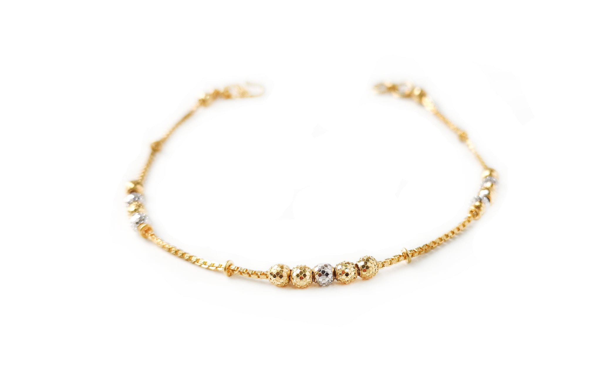 22ct Gold Bracelet with Diamond Cut and Rhodium Design (3.8g) LBR-7662
