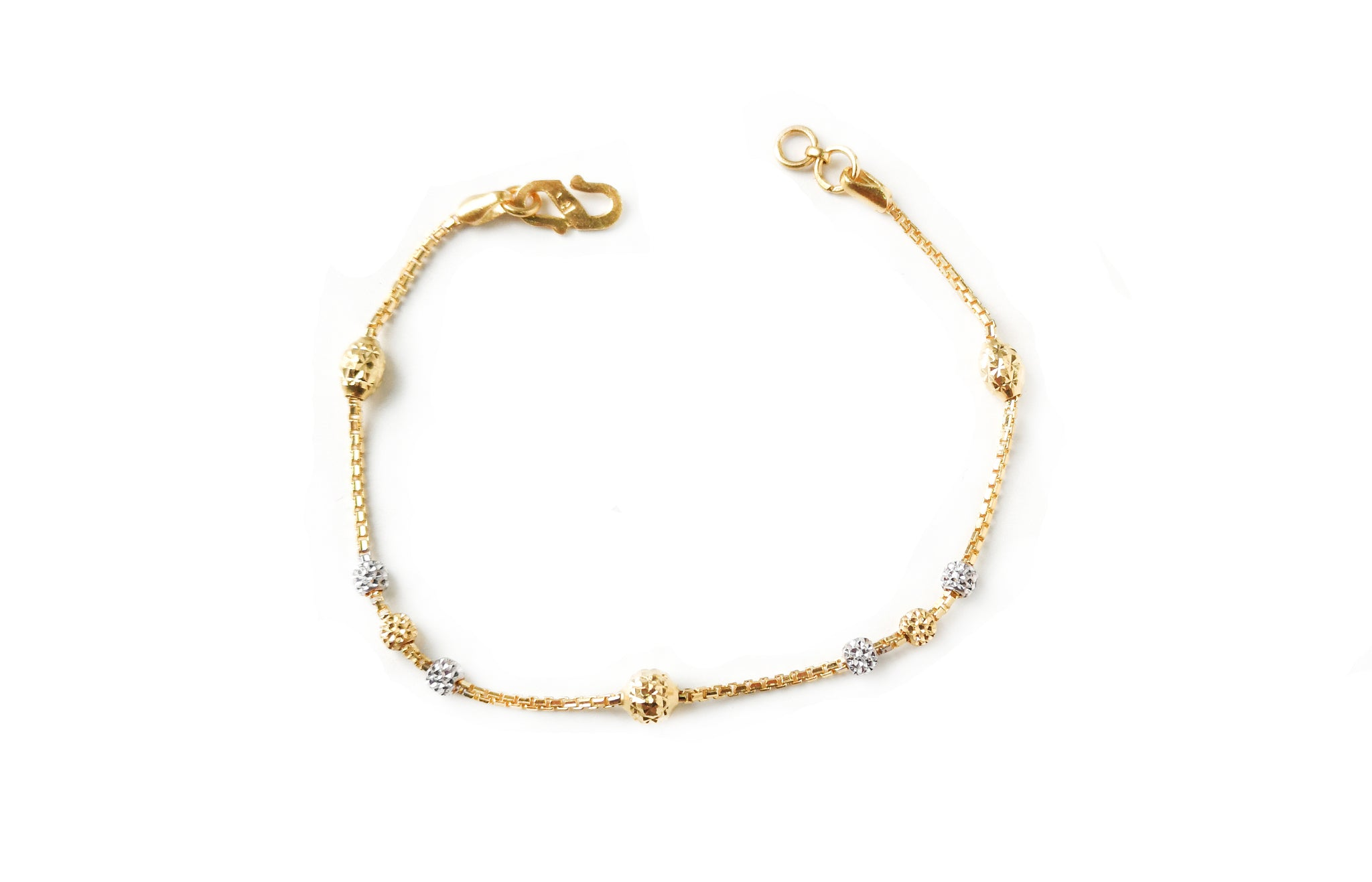 22ct Gold Bracelet with Diamond Cut and Rhodium Design (4.4g) LBR-7663