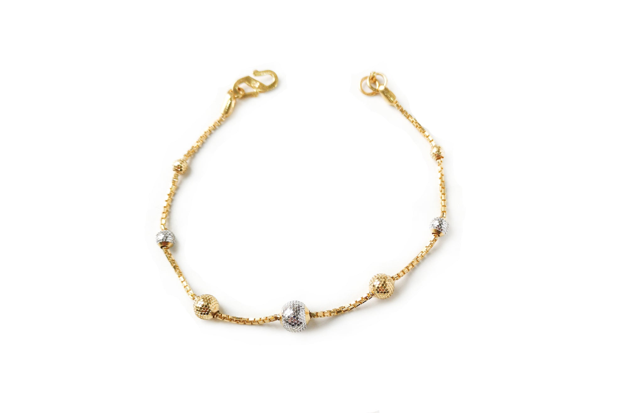 22ct Gold Bracelet with Diamond Cut and Rhodium Design (4.8g) LBR-7664