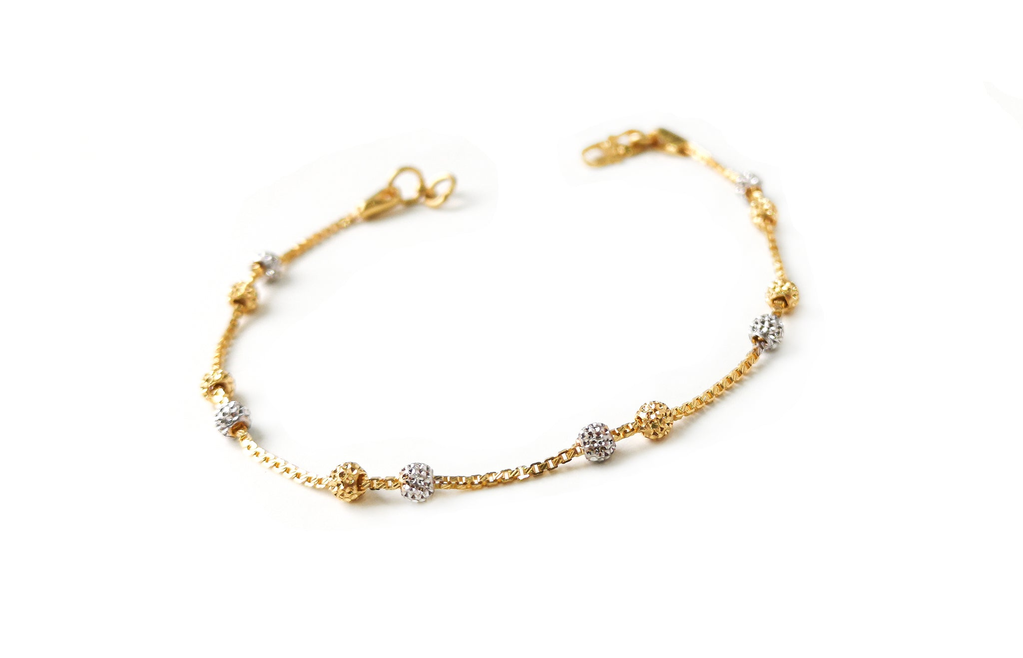 22ct Gold Bracelet with Diamond Cut and Rhodium Design (3.6g) LBR-7666