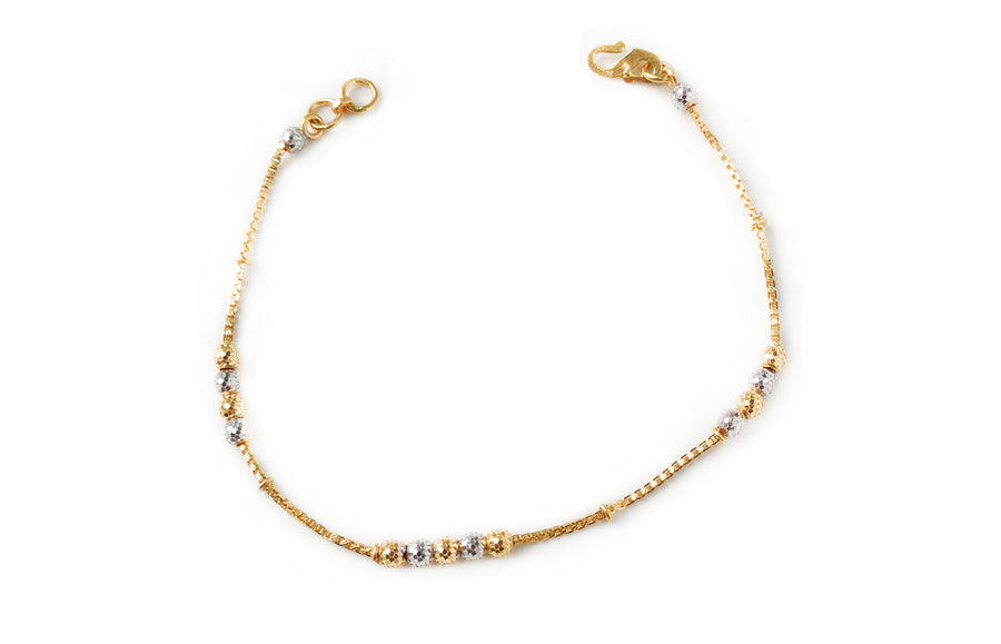 22ct Gold Bracelet with Diamond Cut and Rhodium Design (3.6g) LBR-7667