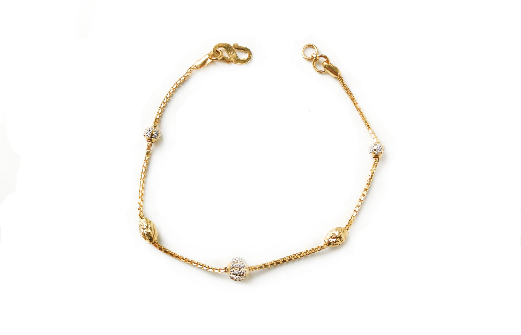 22ct Gold Bracelet with Diamond Cut and Rhodium Design (4.2g) LBR-7668