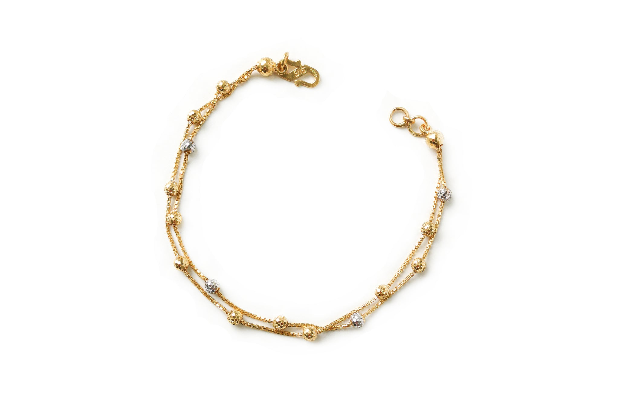 22ct Gold Two Strand Bracelet with Diamond Cut and Rhodium Design (4.3g) LBR-7669