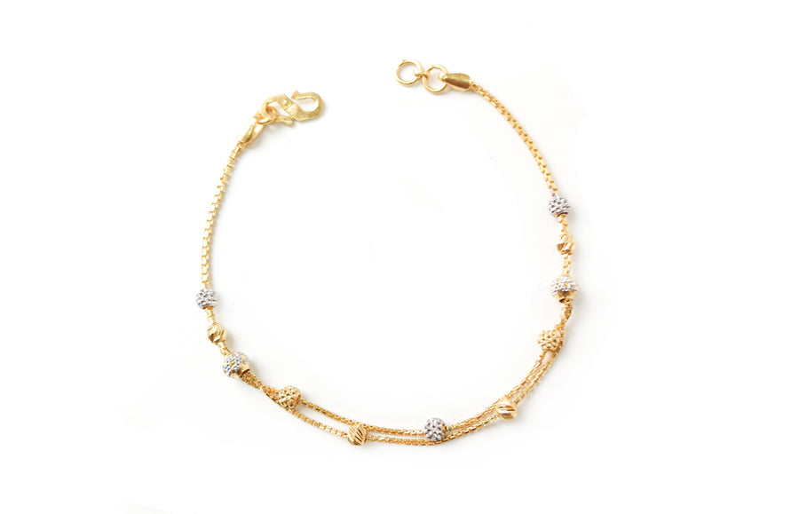 22ct Gold Two Strand Diamond Cut and Rhodium Design Bracelet (4.2g) LBR-7674