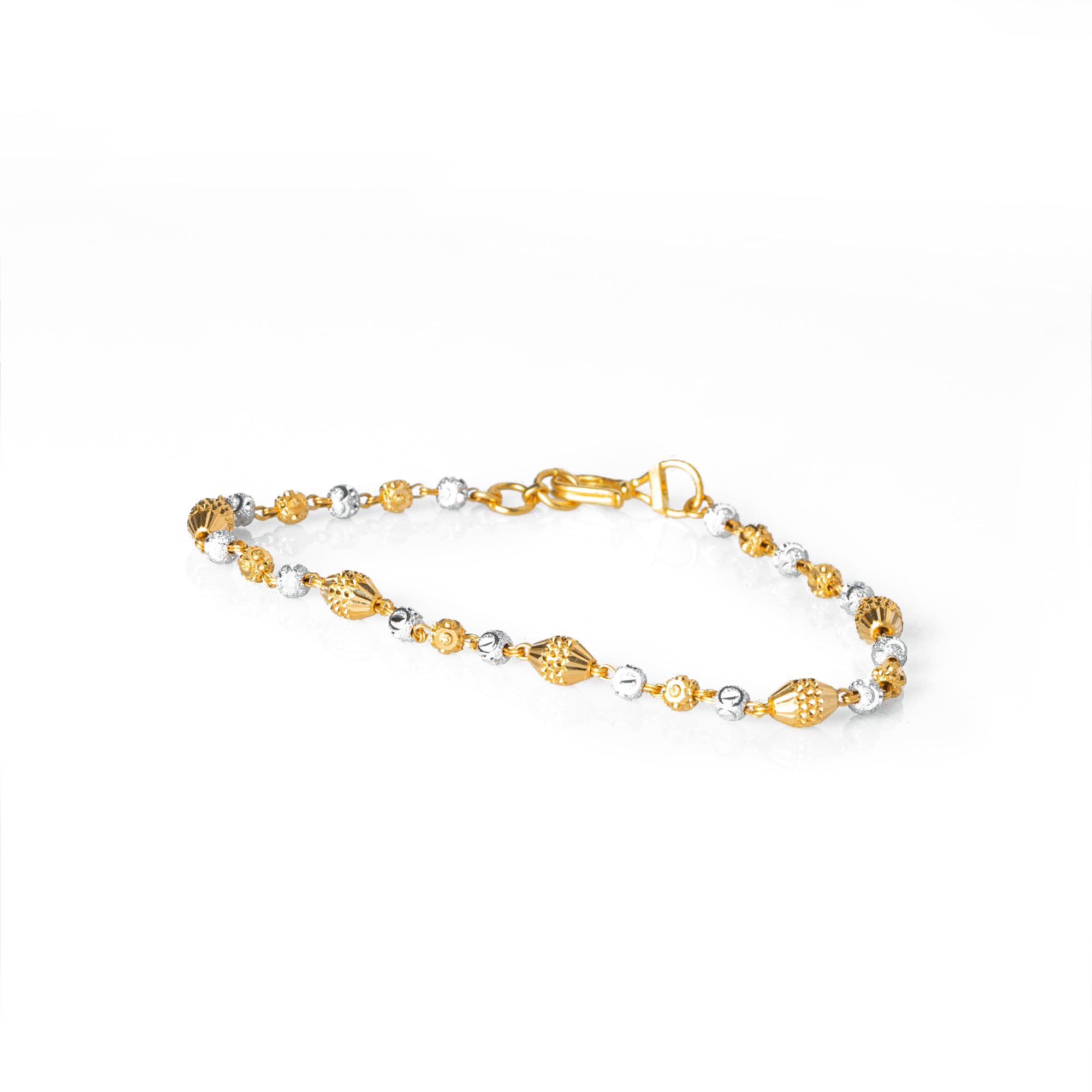 22ct Gold Diamond Cut and Rhodium Design Bead Bracelet (5.7g) LBR-7741