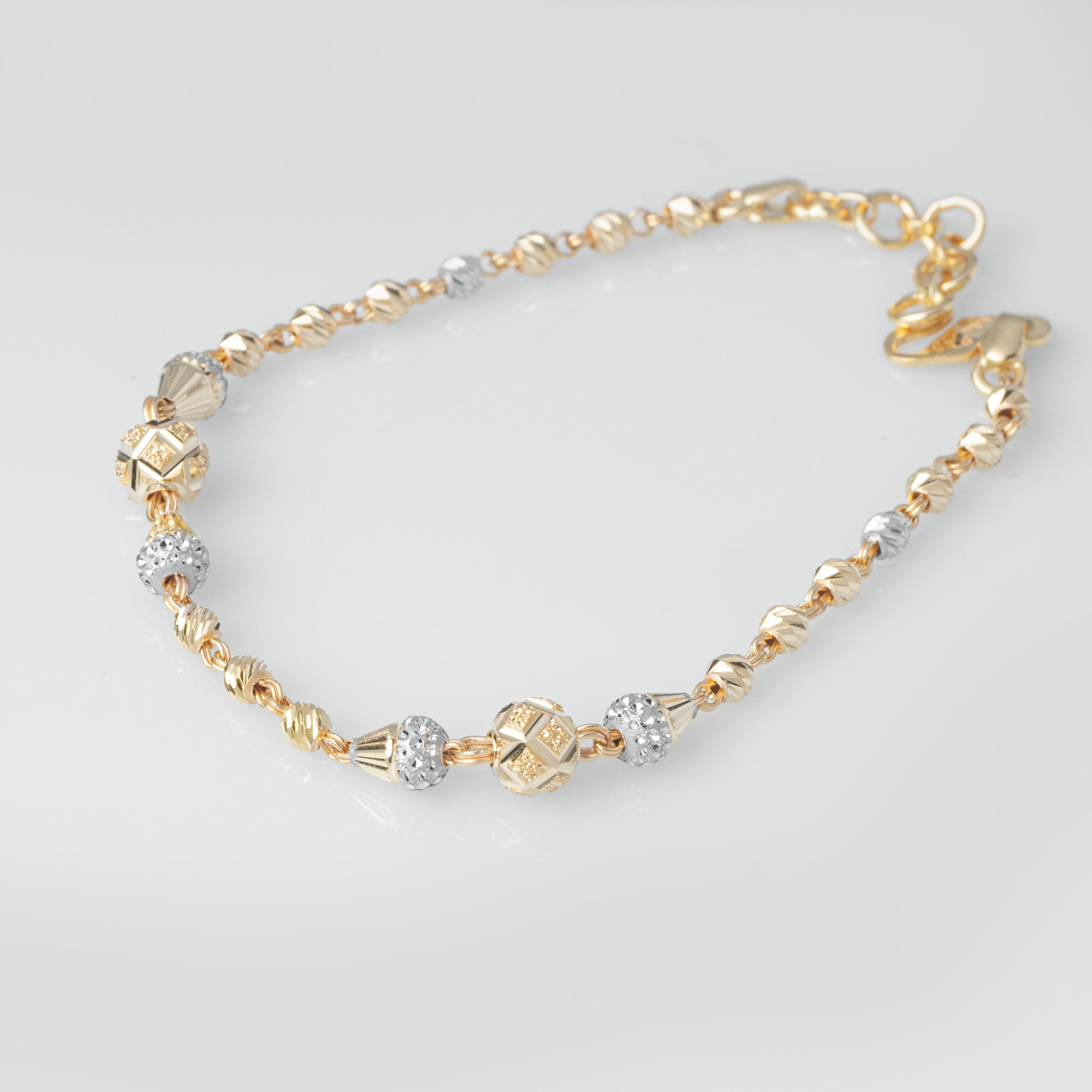 22ct Gold Diamond Cut & Rhodium Design Bracelet (4.3g) LBR-8019