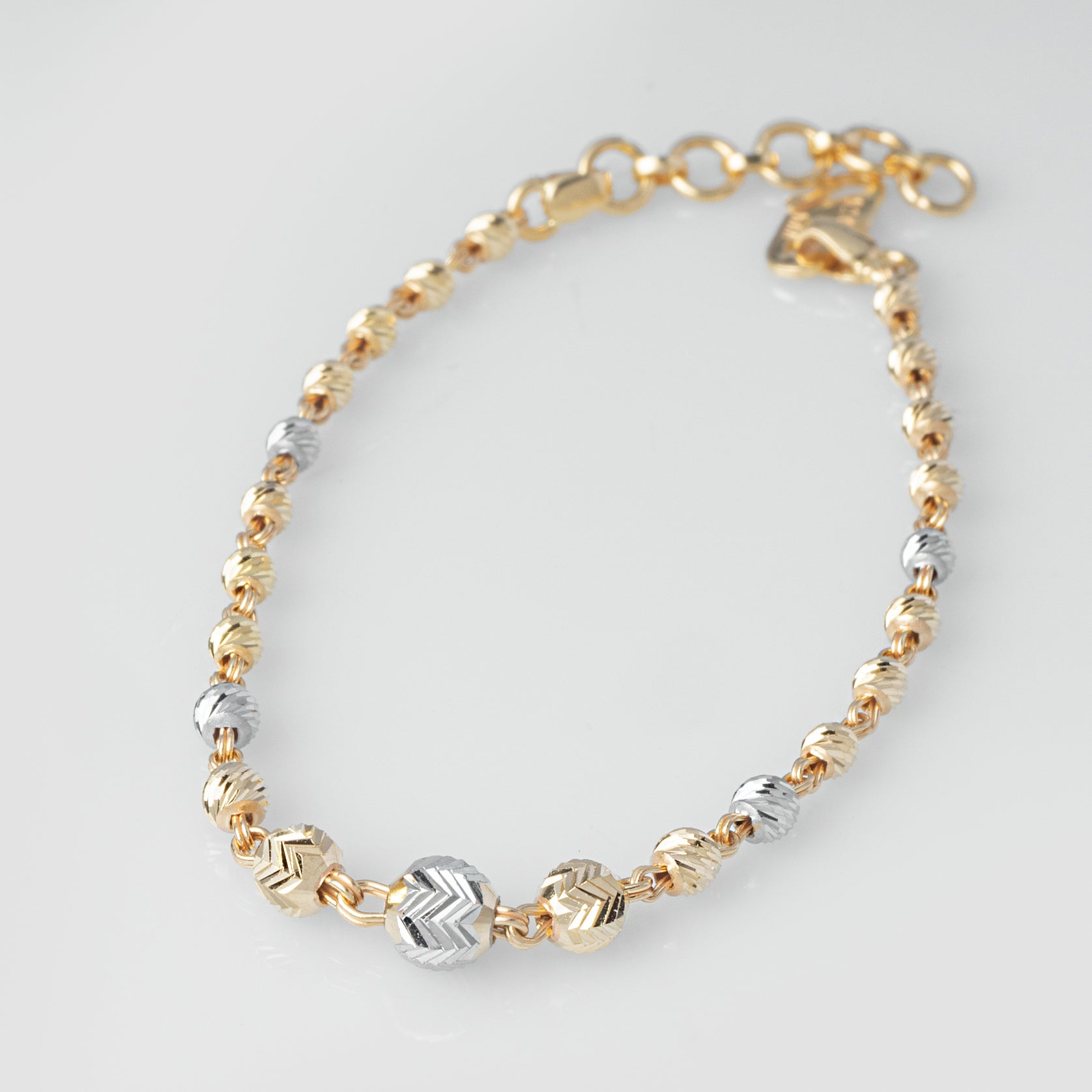 22ct Gold Diamond Cut & Rhodium Design Bracelet (3.9g) LBR-8020