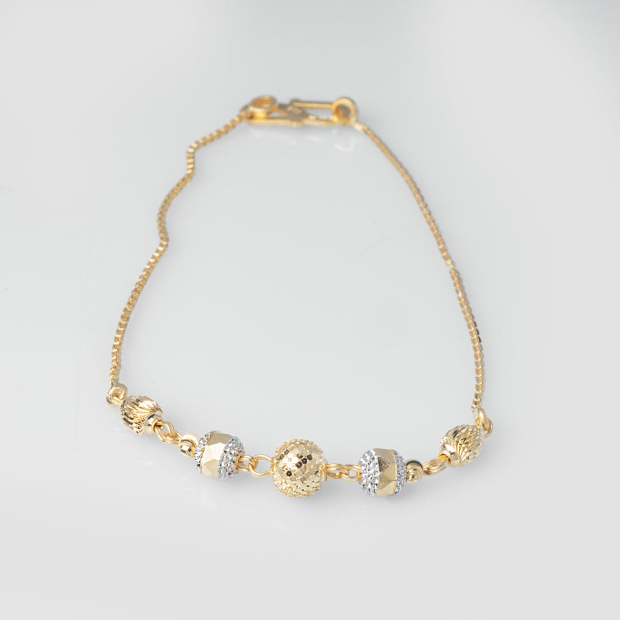 22ct Gold Diamond Cut & Rhodium Design Bracelet (4g) LBR-8029