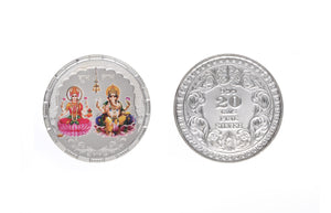 Sterling Silver Coin featuring Lakshmi and Ganesh (LG20g)