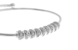 18ct White Gold Bangle with Cubic Zirconia Stones (9.86g) (LKB10002)