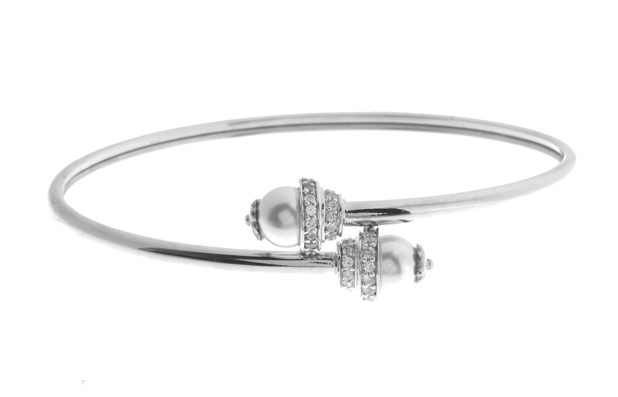 18ct White Gold Bangle with Cubic Zirconia Stones (10.71g) (LKB9005)