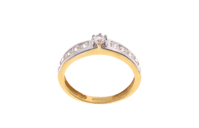 22ct Gold Cubic Zirconia Engagement Ring & Wedding Band Suite (LR-2270)