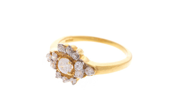 22ct Yellow Gold Cubic Zirconia Dress Ring (LR-2326)