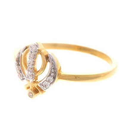 22ct Yellow Gold Cubic Zirconia Khanda Ring (VLR1130)