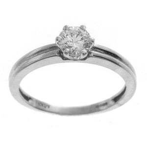 18ct White Gold Cubic Zirconia Engagement Ring (LR-2363)
