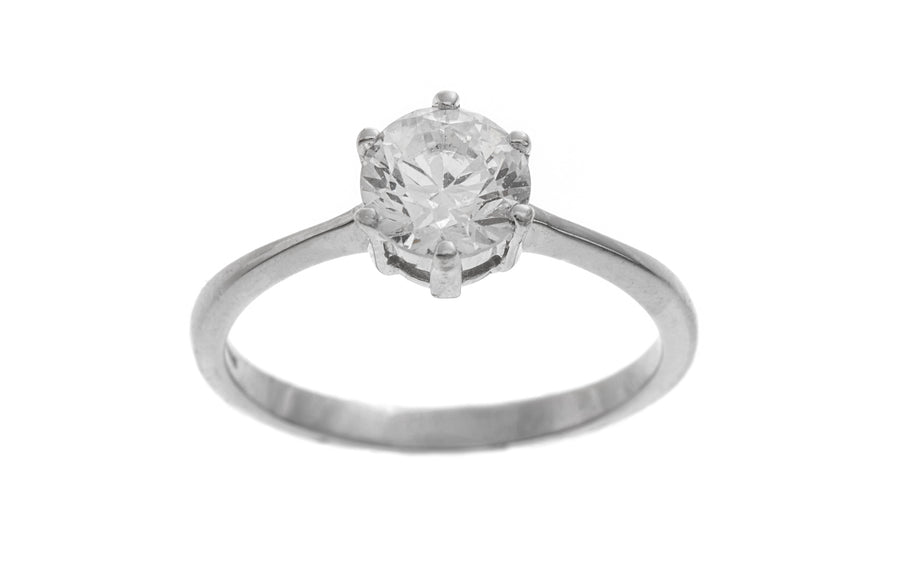 18ct White Gold Cubic Zirconia Engagement Ring (LR-2365)