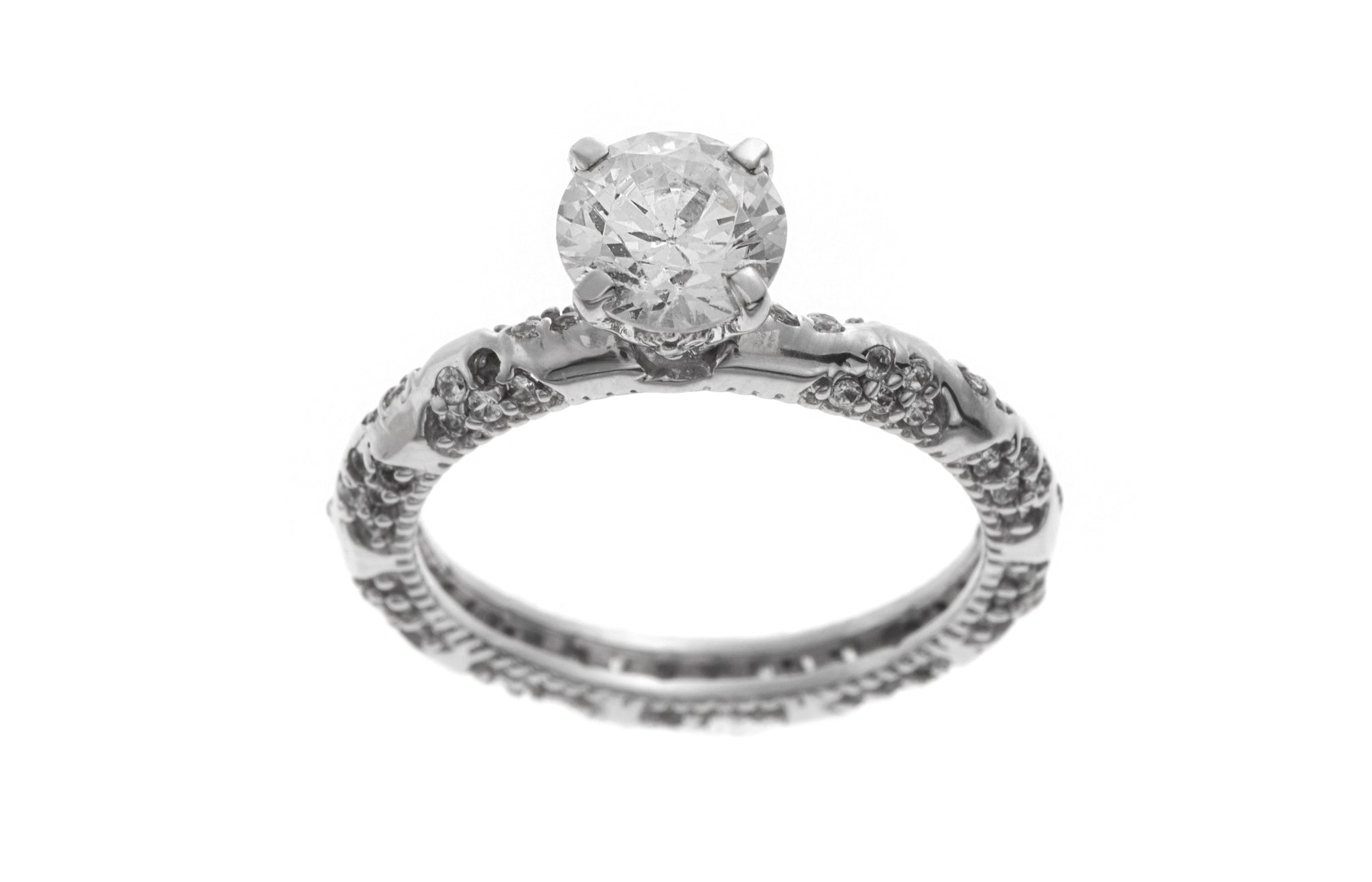 18ct White Gold Cubic Zirconia Engagement Ring (LR-2369)