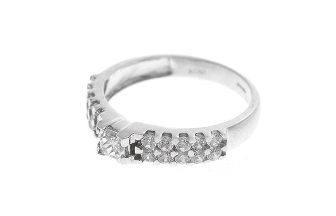 18ct White Gold Cubic Zirconia Engagement Ring and Wedding Band Suite LR-2406